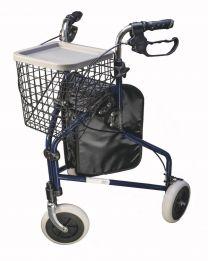 Rollator med 3 hjul, bakke og kurv