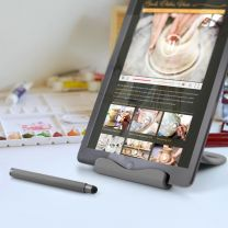 Tablet holder med pen, Grå