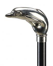 Stok i træ m/delfin hoved