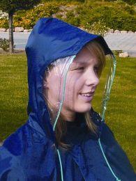Regnslag blå m/arme og vindue i hætte